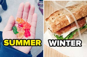 a hand holding gummy bears next to a ham sandwich in a baggie