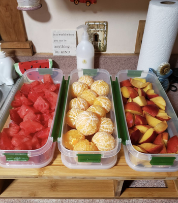reviewer image of the containers filled with different cut fruits