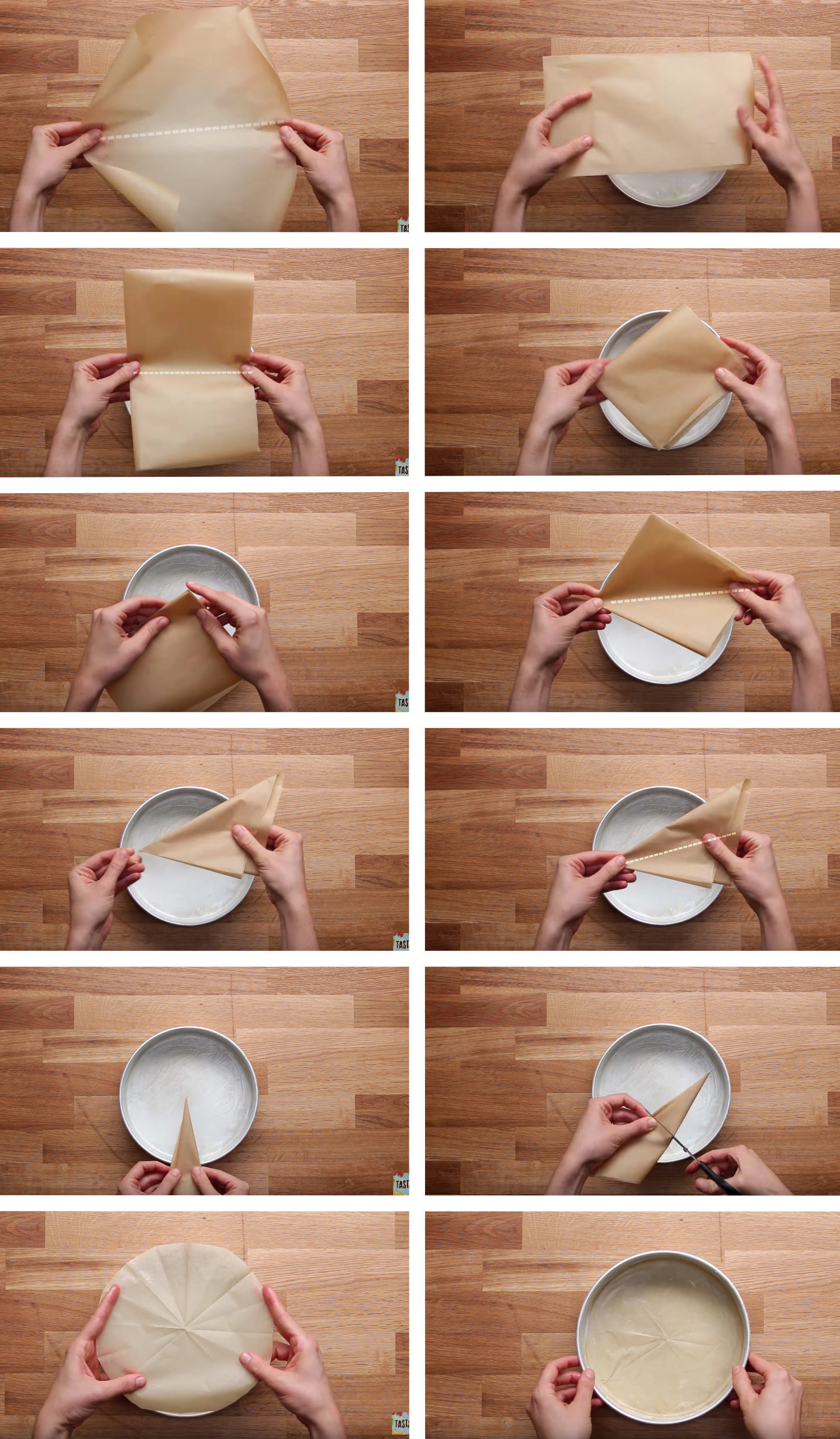 How to line a cake pan with parchment paper.