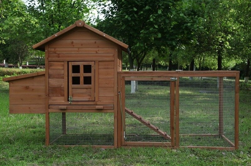 A brown wooden chicken coup with metal wiring and a door outside in a backyard