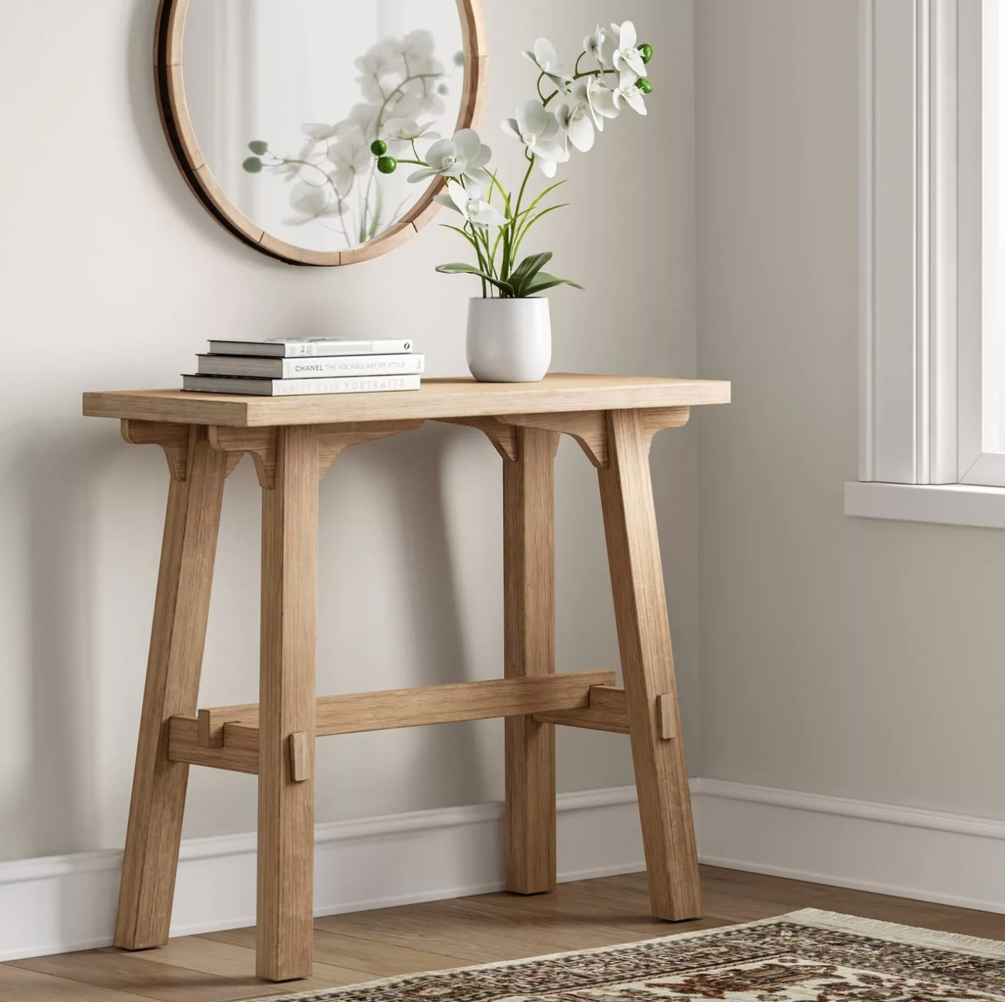 The wood console table