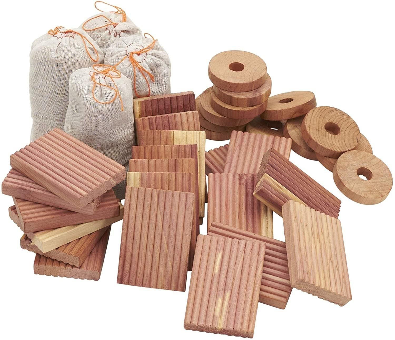 A collection of four cedar sachets, 20 Cedar Blocks, and 12 cedar hanger rings