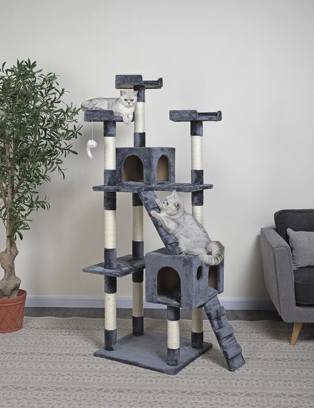 A big gray cat house with multiple levels, poles, ladders and boxes; two cats are playing on it