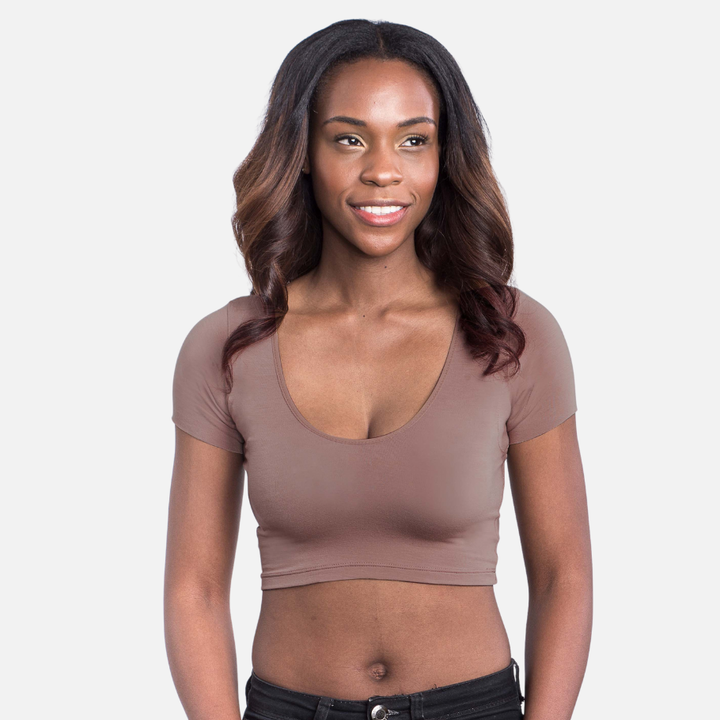A model wearing a crop top undershirt in Espresso with a scoop neckline and short sleeves