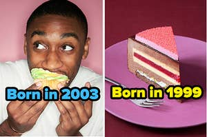 a man eating a cupcake next to a slice of pie