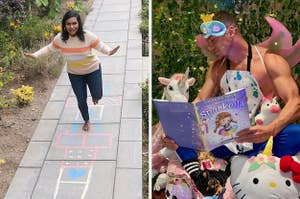 Mindy Kaling playing hopscotch side by side with Channing Tatum and his new children's book