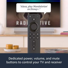 "The remote with speech bubble text ""Alexa, play 'Mandalorian' on Disney+"" and caption ""Dedicated power, volume, and music buttons to control your TV and reciever"""