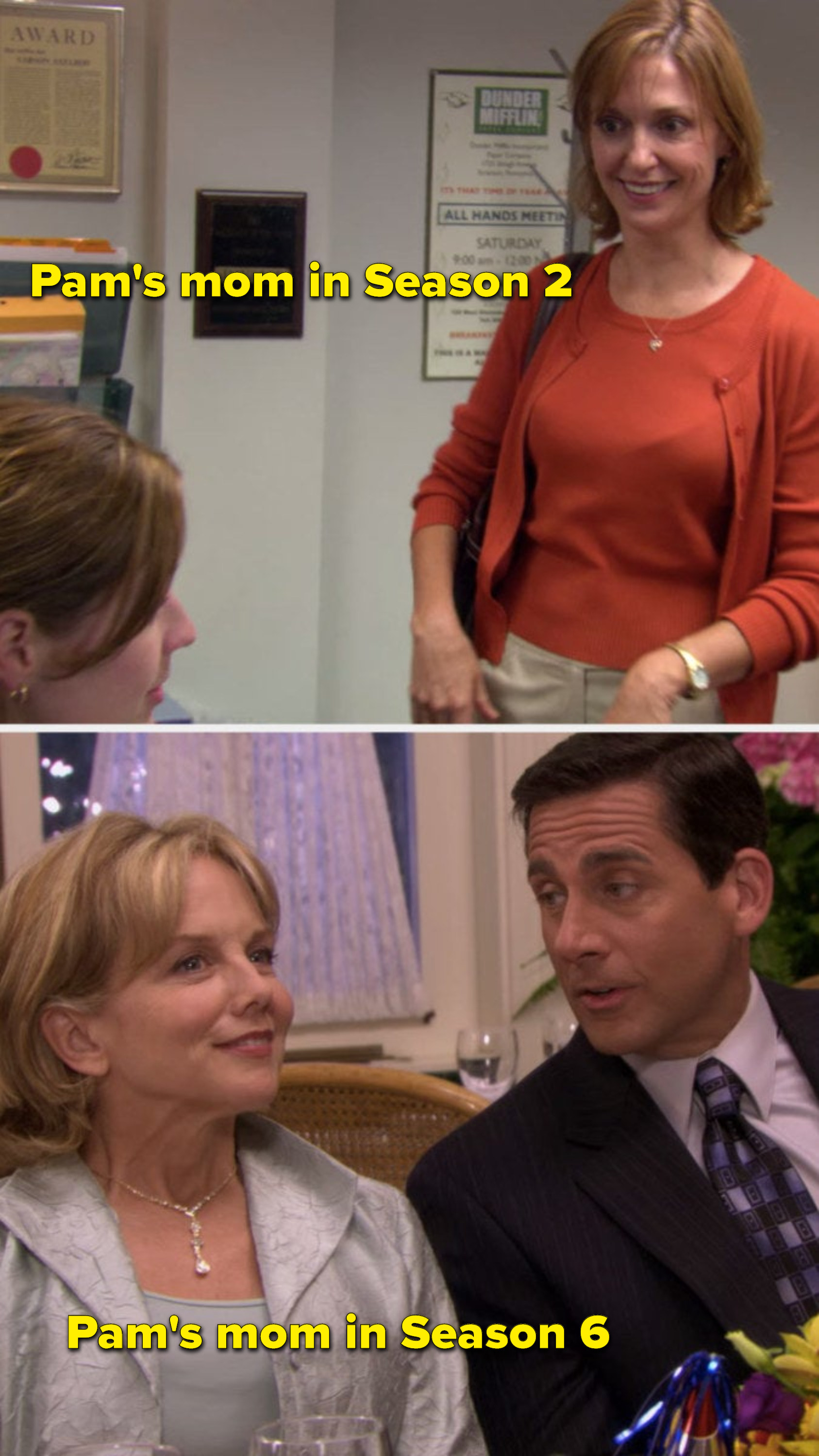 Pam's mom in Season 2 and an entirely different actor playing Pam's mom in Season 6