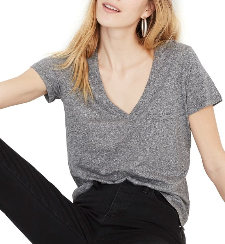 model wearing the gray top