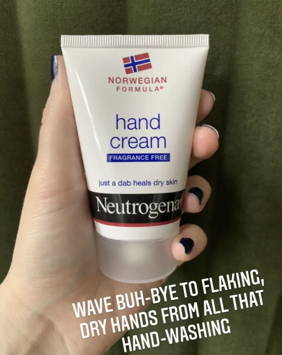 """Hand holding the small tube of cream with text """"wave buh-bye to flaking, dry hands from all that hand-washing"""""""