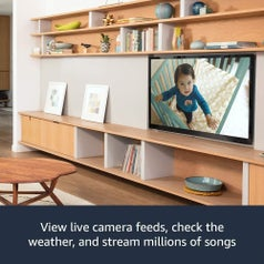 "A baby monitor camera view on a TV screen, with the caption ""View live camera feeds, check the weather, and stream millions of songs"""