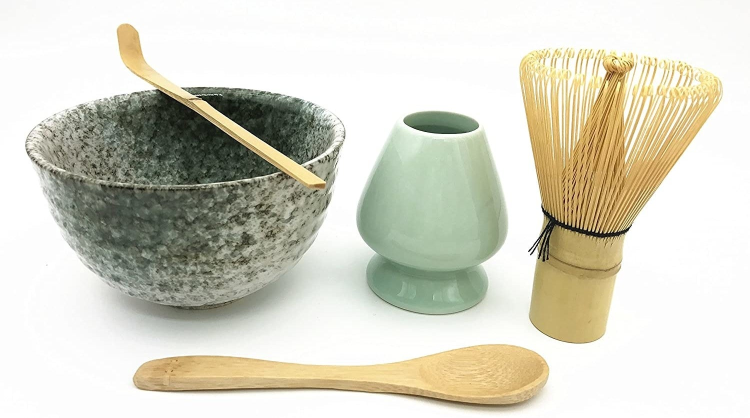The matcha set which comes with ceramic and bamboo utensils