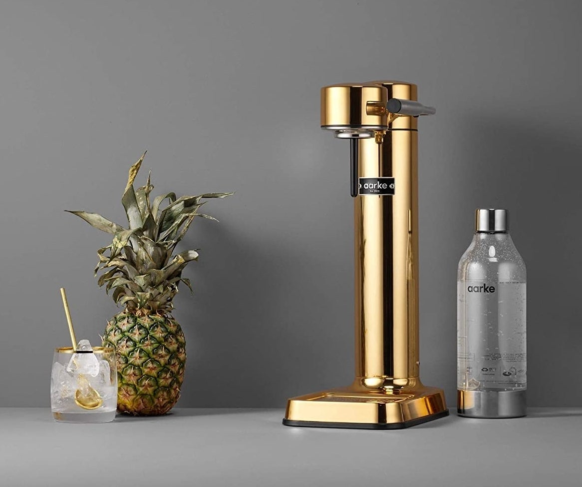 The brass carbonator which has Aarke branding