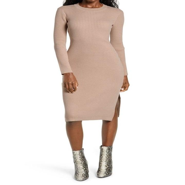 model wearing the tan dress