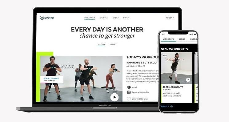 """Computer screen that says """"every day is another chance to get stronger"""" and has a workout video"""
