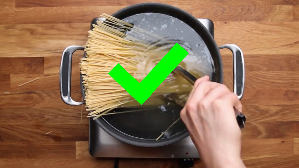 Cooking pasta in a large pot of water