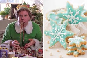 On the left, Buddy the Elf eating breakfast spaghetti, and on the right, some snowflake-shaped sugar cookies