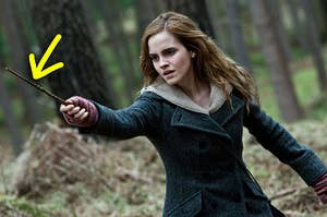 Hermione brandishing her wand with a dragon heart string core
