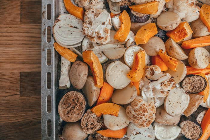 Pan filled with cauliflower and squash