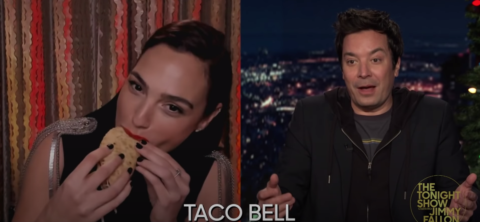 Gal Gadot takes her first bite out of the Taco Bell taco as Jimmy Fallon waits with anticipation