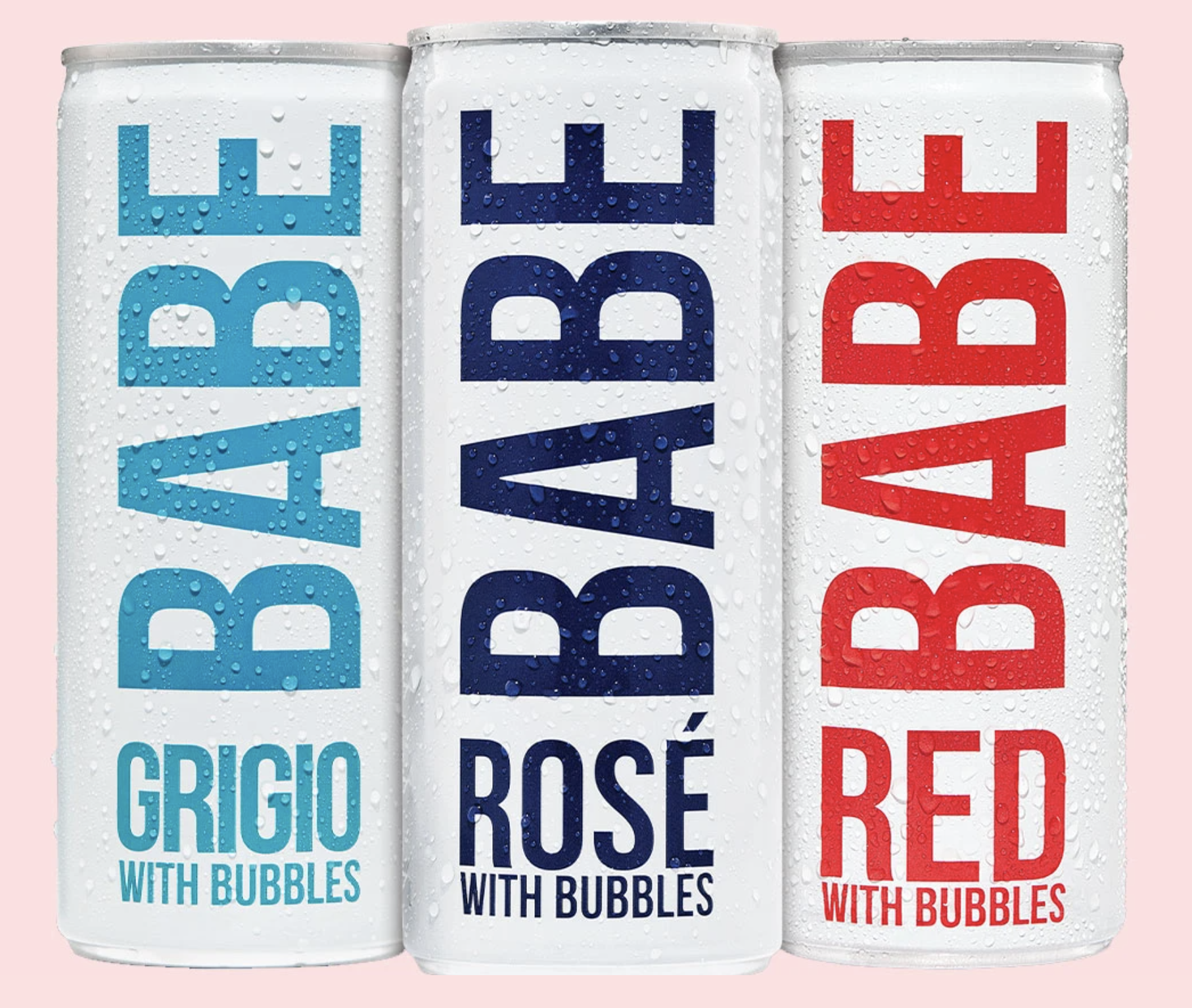 Three cans of BABE wine – Grigio, rose and  red.