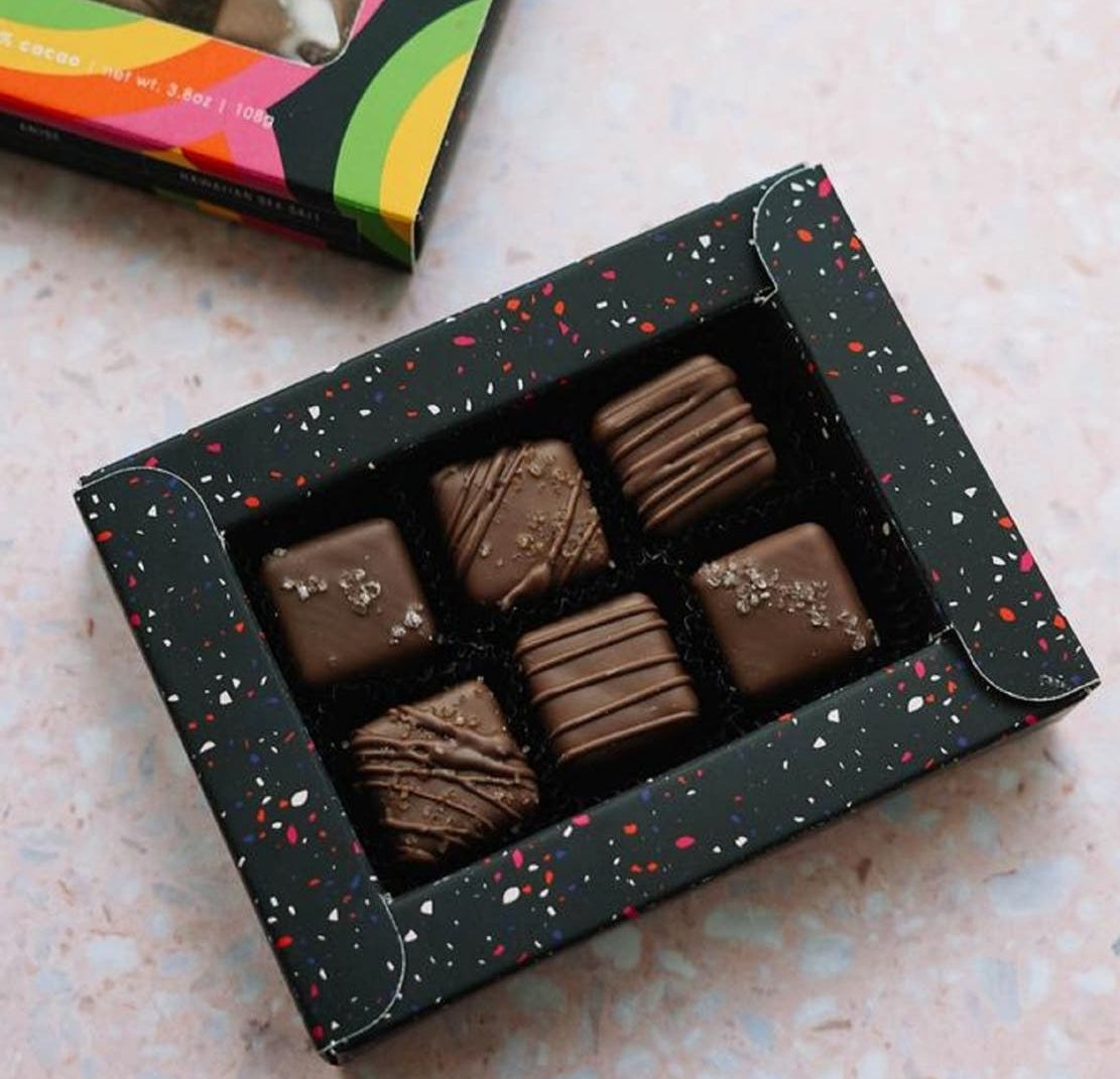 the box of chocolate caramels