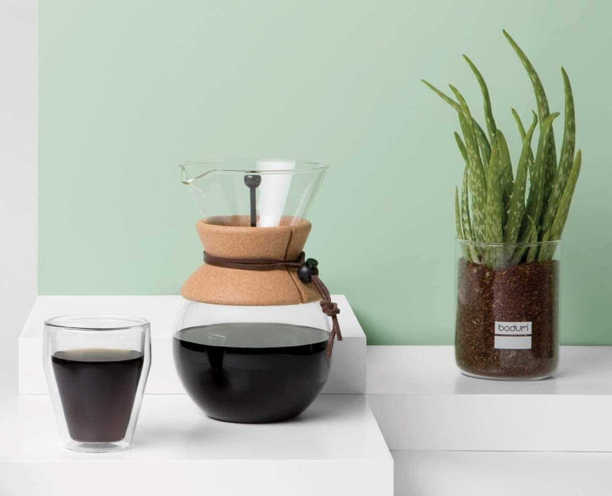 The pour over coffee maker which has a cork band around the middle so it's safe to grab