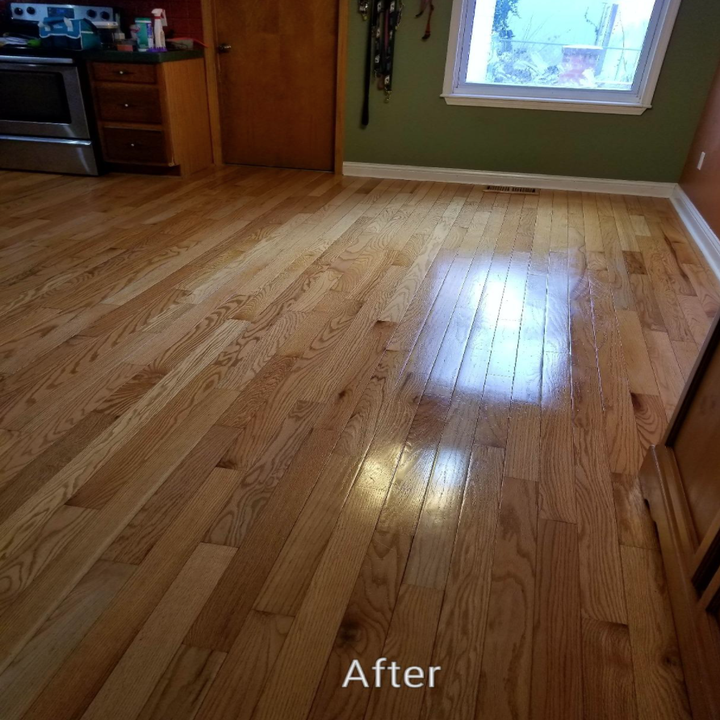 The vibrant, shinier wood floors after using the wood finisher