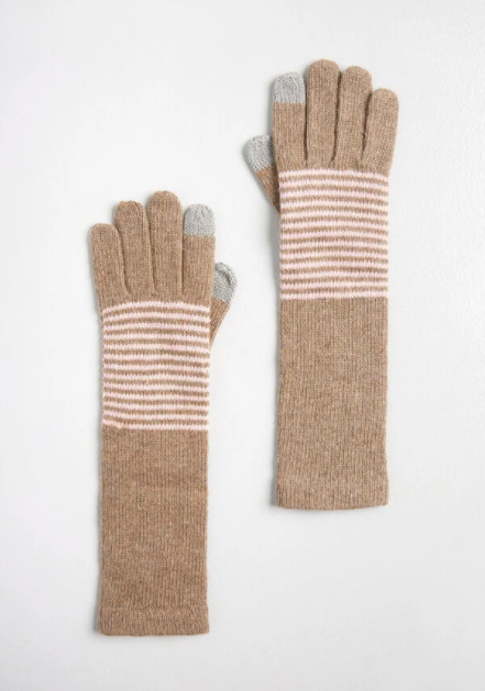 the coffee-colored gloves with white stripes and grey fingertips