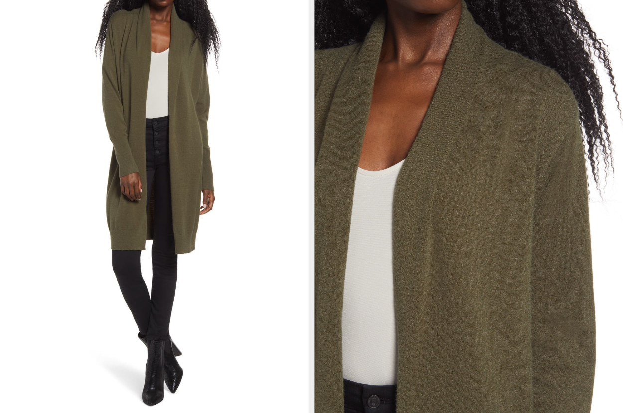 Model wearing the knee-length cardigan in olive