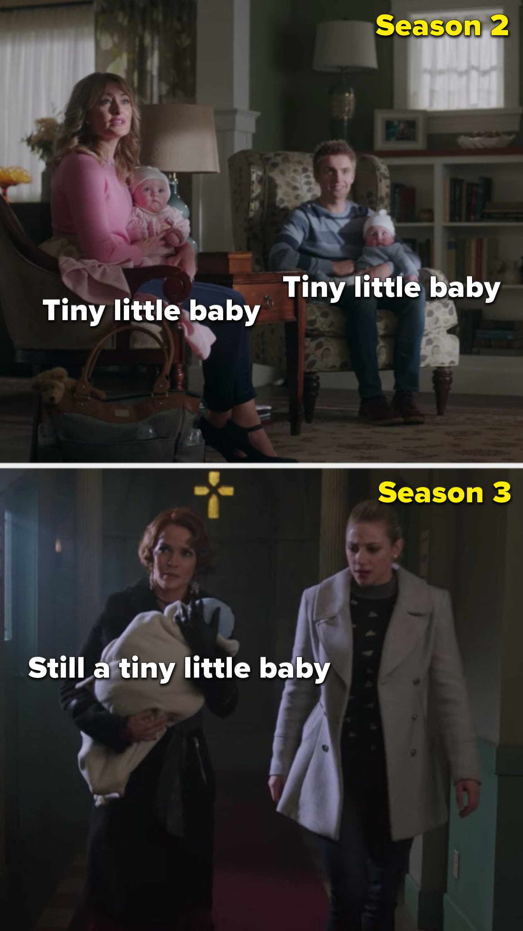 The twins being little babies in Season 2, and Penelope holding one of the still baby twins in Season 3
