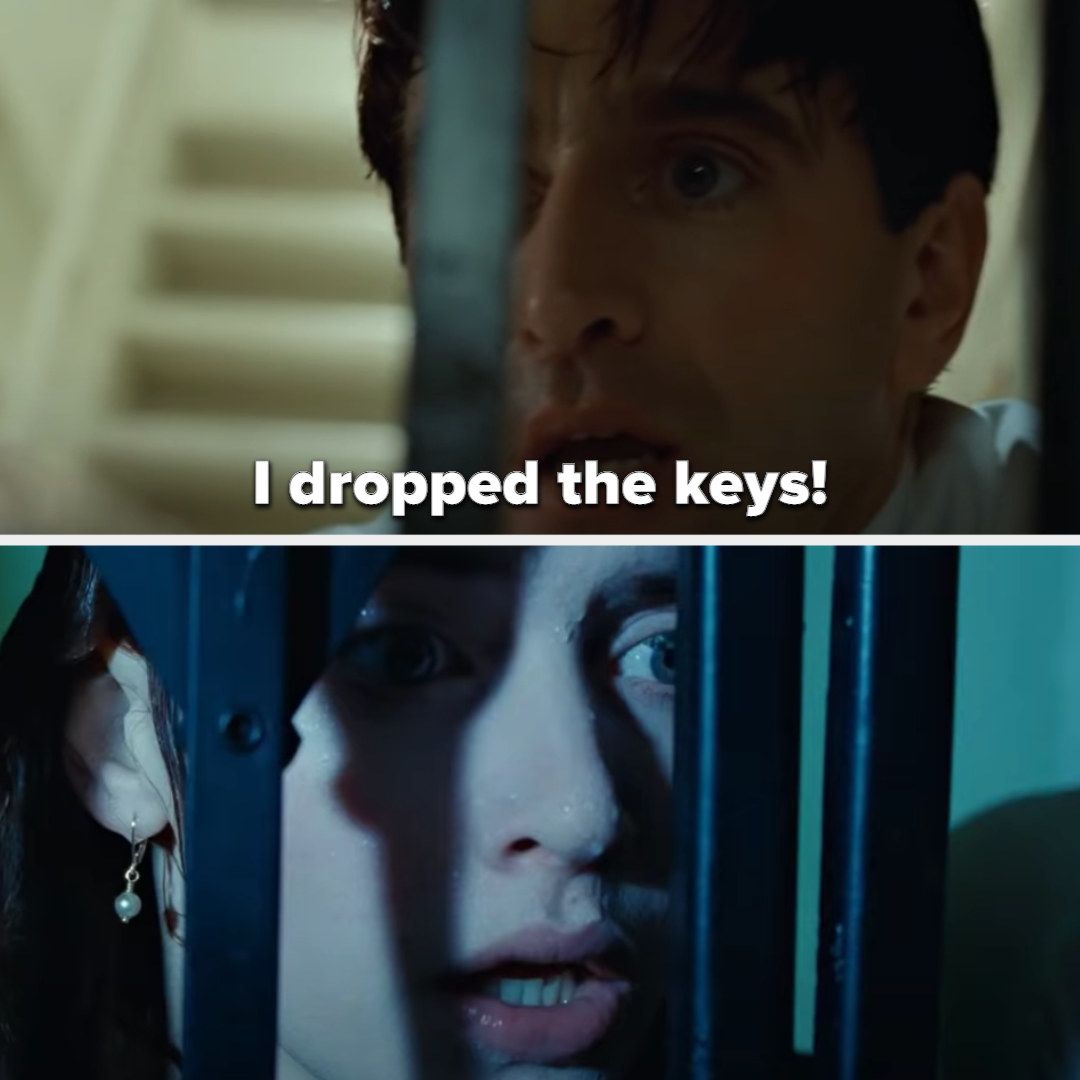 the man says he dropped the keys, and on the other side of the gate, Rose looks shocked