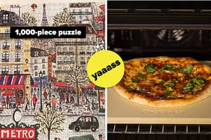 A 1,000 piece puzzle on the left, and a pizza cooking on a pizza rock on the right