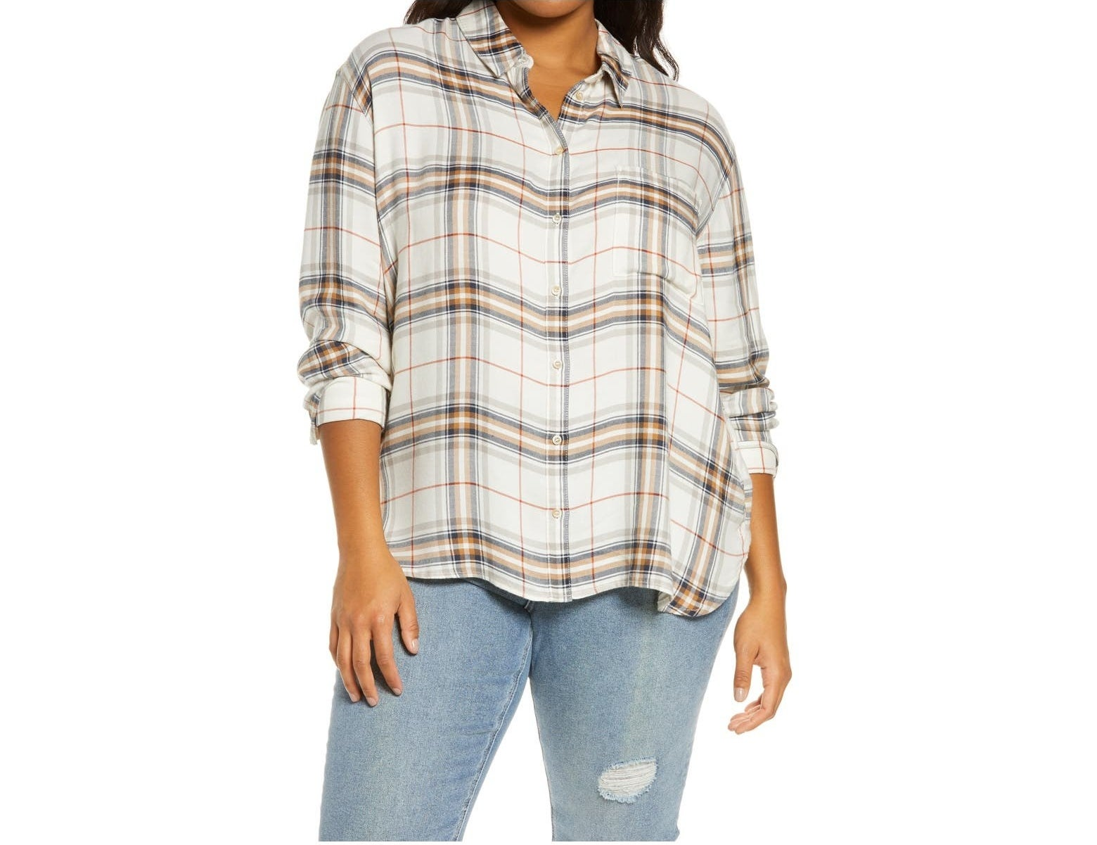 The ivory, red, and navy plaid shirt