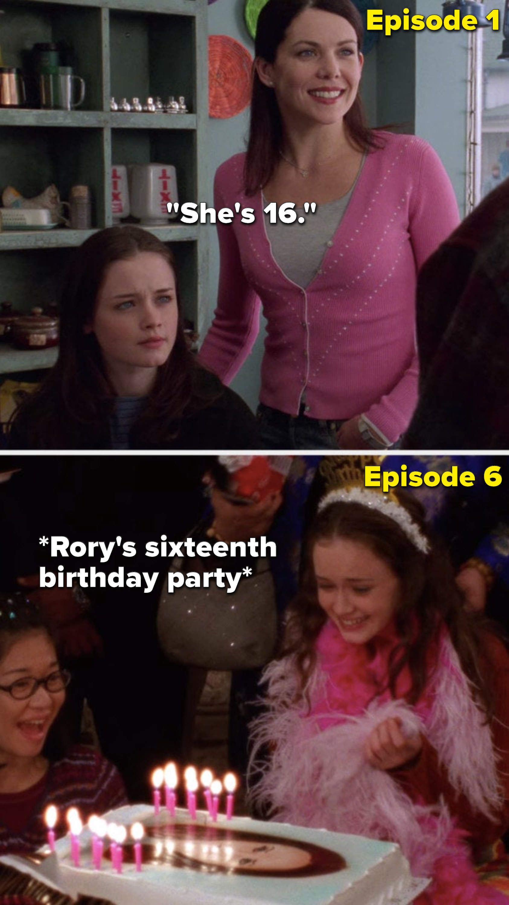 "In the first episode, Lorelai says about Rory, ""She's 16,"" but in Episode 6, Rory has her sixteenth birthday party"