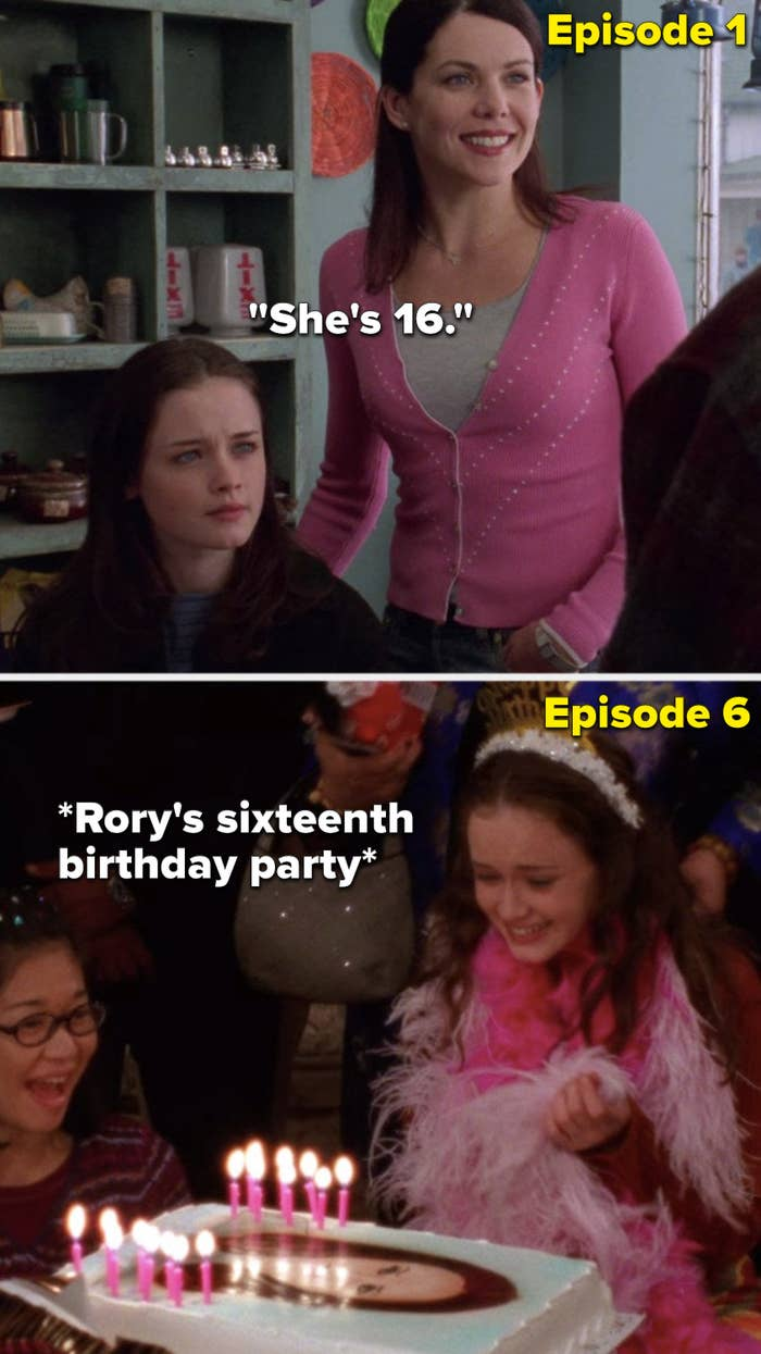 """In the first episode, Lorelai says about Rory, """"She's 16,"""" but in Episode 6, Rory has her sixteenth birthday party"""