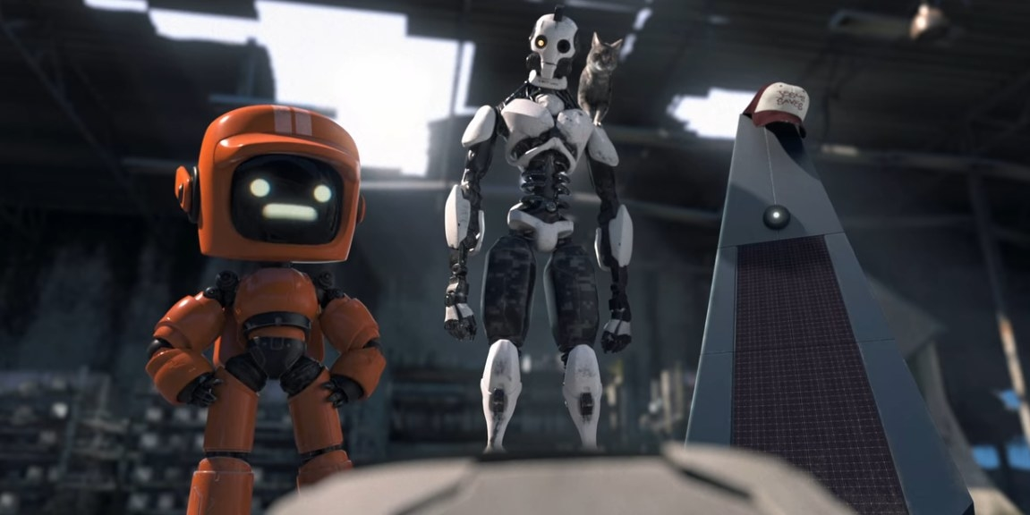 Three robots questioning the past