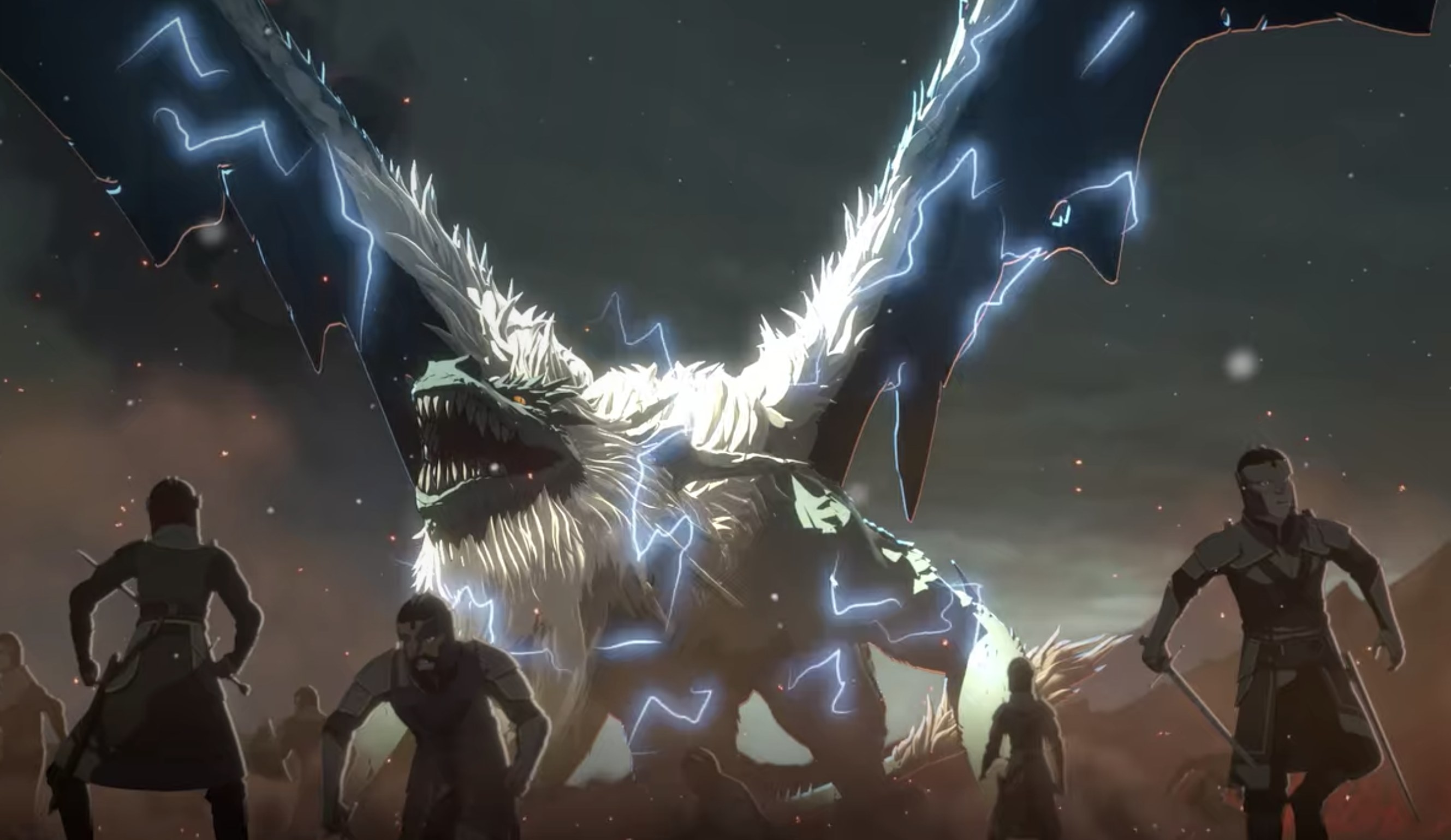 People being attacked by giant dragon