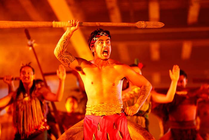 Performance of the haka in traditional clothing