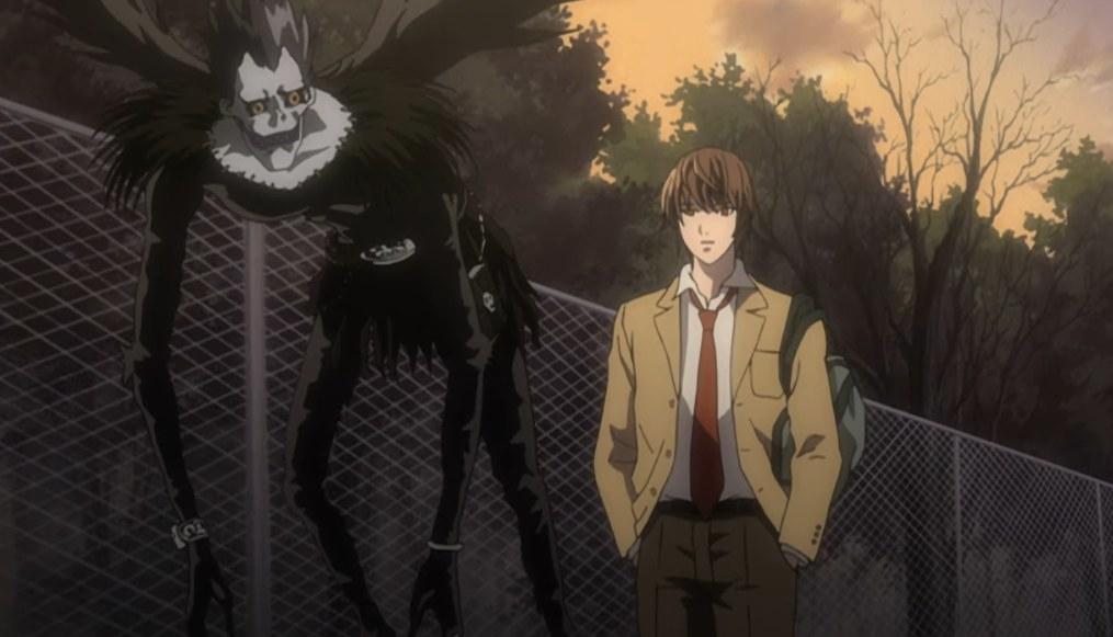 Light Yagami being followed by Ryuk