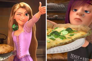 Rapunzel is on the left winking with a woman holding pizza on the right