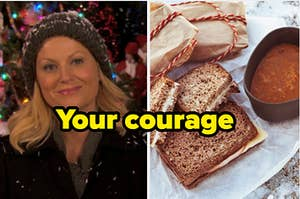 "a woman in a winter hat next to an image of a sandwich on snow. over the image says ""your courage"""