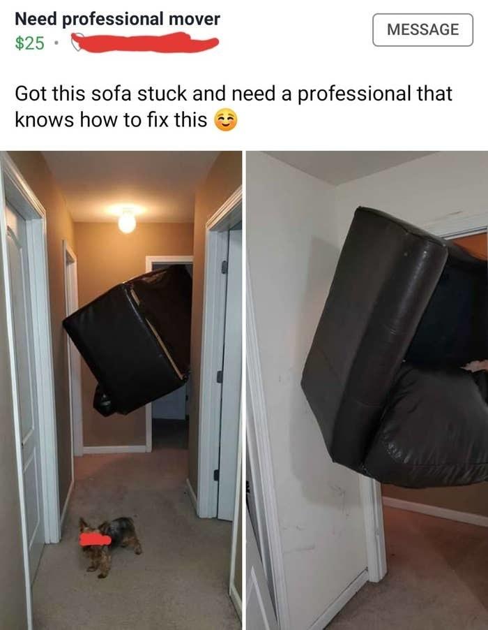 couch stuck in a door