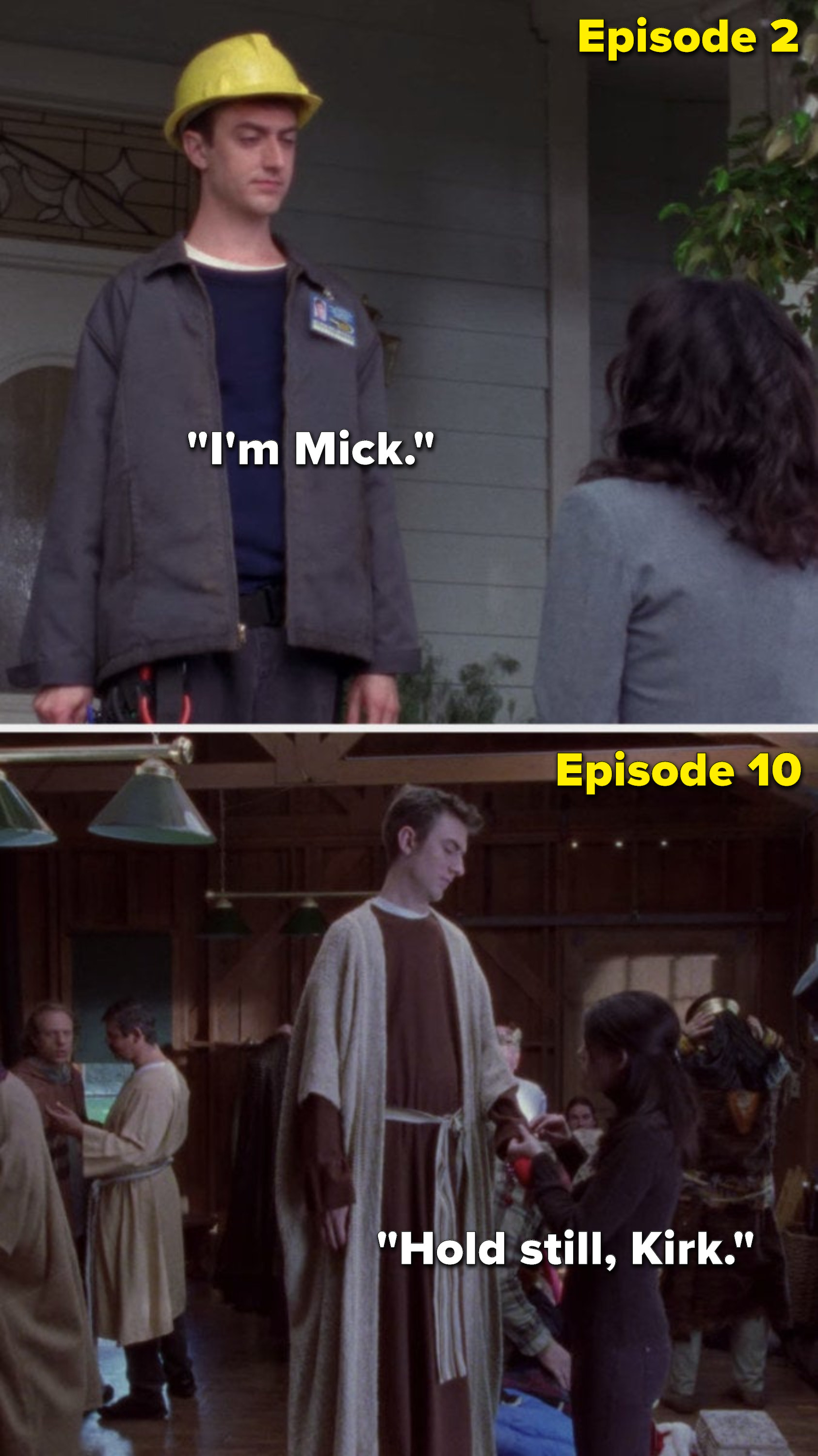 "In episode 2, Kirk says, ""I'm Mick,"" but in Episode 10 Lorelai says to him, ""Hold still, Kirk"""