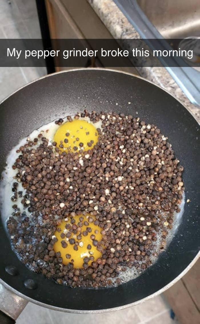 eggs full of peppercorns because their shaker broke