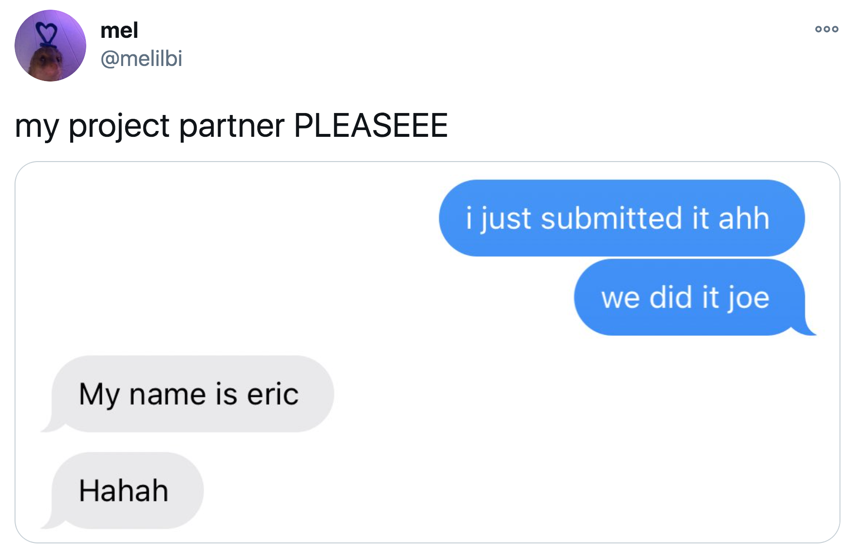 person who mixes up their project partner's name calling them joe when they are named eric