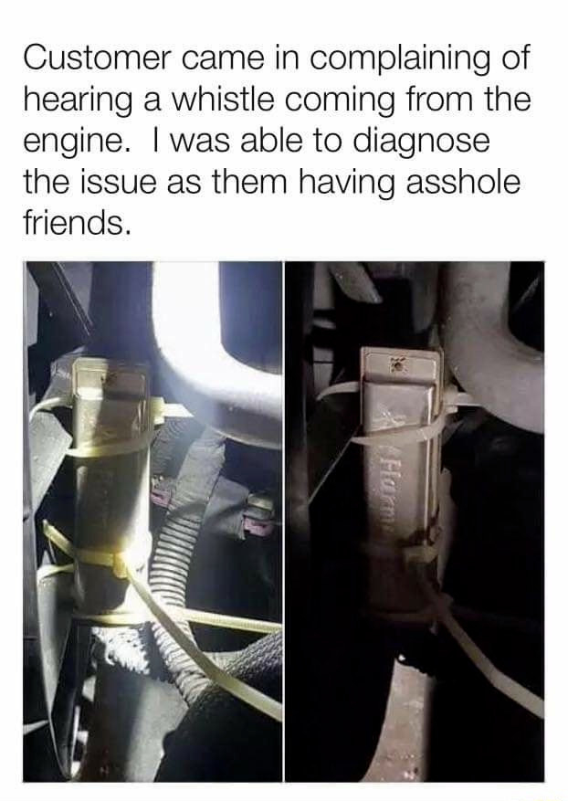 harmonica in the engine of a car