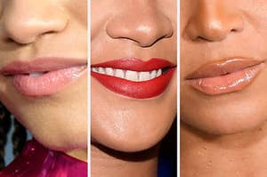 Three different sets of lips