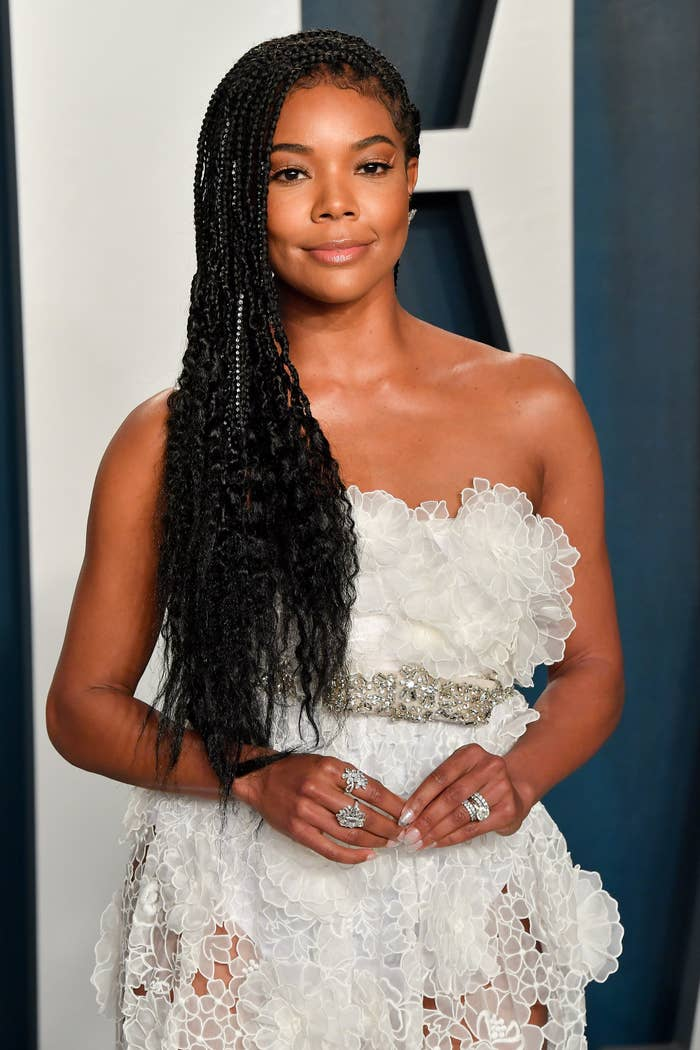 Gabrielle Union arrives at the 2020 Vanity Fair Oscar Party hosted by Radhika Jones at Wallis Annenberg Center for the Performing Arts on February 09, 2020 in Beverly Hills, California