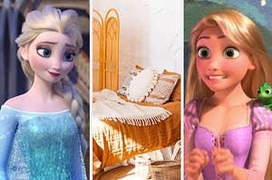 Elsa, Rapunzel, and a bedroom